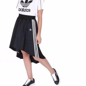NWT Adidas 3 Stripe High Low Satin Skirt